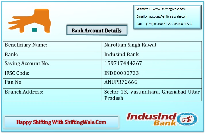 Bank Account Detail For ShiftingWale.Com